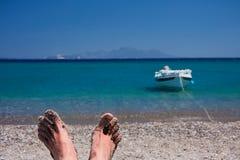 релаксация пляжа Стоковые Фото