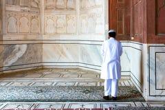 Религиозный мусульманский человек моля внутри мечети, Нью-Дели, Индия стоковое изображение