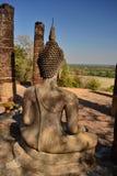 Реликвия буддийского виска в парке Sikothai историческом в Таиланде стоковое фото