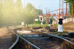 Рельсы и стрелка для железной дороги, вилки дороги Подкрашиванное изображение Стоковое Изображение RF