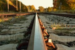 Рельсы от поезда положены в безграничность через природу Путешествия стоковая фотография