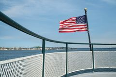 Рельс американского флага и шлюпки Стоковое Фото