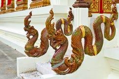 Рельс руки лестницы Naga на тайском виске Стоковые Изображения RF