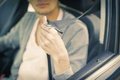 Ремень безопасности в автомобиле Стоковые Фотографии RF
