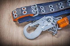 Ремень безопасности конструкции с carabiner металла закрепляет цепь дальше сватает Стоковое Изображение
