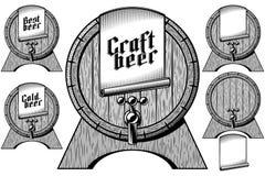 Ремесла крана бочки бочонка бочонка пива ярлык деревянного холодный самый лучший Стоковая Фотография