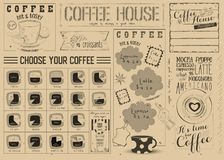 Ремесло Placemat меню кофе Стоковая Фотография RF