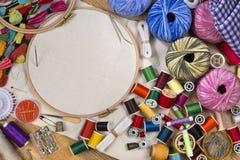 Ремесленничества - шить и вышивка Стоковое фото RF