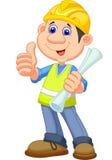Ремонтник рабочий-строителя шаржа Стоковое Фото