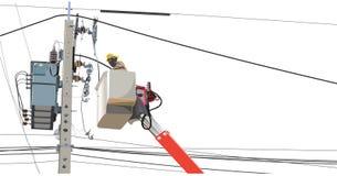 Ремонтное служба работника alo поляков электричества высоковольтного стоковые изображения