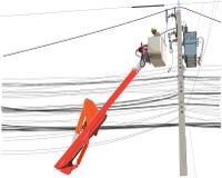 Ремонтное служба работника alo поляков электричества высоковольтного стоковые изображения rf