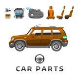 Ремонт автоматического механика частей обслуживания автомобиля плоский машин и оборудование vector иллюстрация Стоковые Фотографии RF