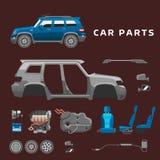 Ремонт автоматического механика частей обслуживания автомобиля плоский машин и оборудование vector иллюстрация Стоковое Изображение RF