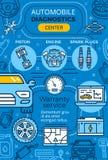 Ремонт автомобиля, плакат вектора обслуживания гаража линейный иллюстрация штока