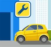 Ремонт автомобиля, желтого автомобиля, иллюстрации цвета Иллюстрация вектора