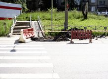 Ремонт дороги пешеходного перехода Стоковое фото RF