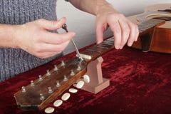 Ремонт и обслуживание гитары - работник делает вне регулировку tru Стоковые Фото