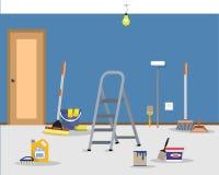 Ремонт комнаты в доме Очищать в квартире после картины стен Стоковая Фотография