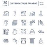 Ремонт одежды, линия установленные значки изменений плоская Портняжничайте обслуживания магазина - dressmaking, одежды испаряясь, Стоковые Изображения RF