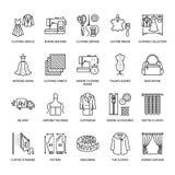 Ремонт одежды, линия установленные значки изменений плоская Портняжничайте обслуживания магазина - dressmaking, одежды испаряясь, Стоковые Изображения