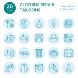 Ремонт одежды, линия установленные значки изменений плоская Портняжничайте обслуживания магазина - dressmaking, одежды испаряясь, Стоковые Фото