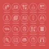 Ремонт одежды, линия установленные значки изменений плоская Портняжничайте обслуживания магазина - dressmaking, одежды испаряясь, Стоковые Фотографии RF