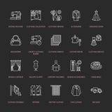 Ремонт одежды, линия установленные значки изменений плоская Портняжничайте обслуживания магазина - dressmaking, одежды испаряясь, Стоковое Изображение RF