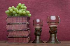Ренессанс, бокал rummer, старые книги и виноградины стоковая фотография