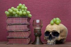 Ренессанс, бокал rummer, старые книги, человеческий череп и виноградины стоковое фото