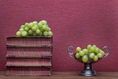 Ренессанс, книги чашки олова старые и виноградины стоковая фотография rf