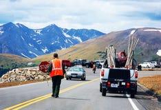 Реновация дороги Колорадо скалистой горы в прогрессе Стоковое Изображение RF