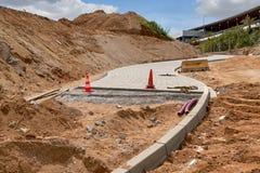 Реновация зоны пути прогулки в парке города стоковое изображение rf
