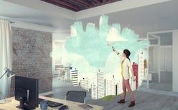 Реновация дома и дома Мультимедиа стоковое фото