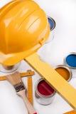 реновация paintbrush краски работы цвета художника стоковые фото