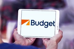 Рента бюджета логотип системы автомобиля Стоковое фото RF