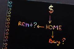 Рента или концепция покупки текст в тетради стоковое фото rf