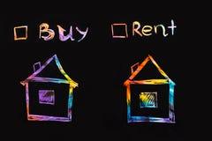 Рента или концепция покупки текст с флажками стоковые изображения rf