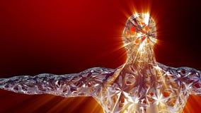 Рентгенизируйте голографическое человеческое тело с сияющий накалять мозга и световых лучей видеоматериал