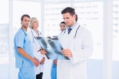 Рентгеновский снимок доктора рассматривая при коллеги стоя позади Стоковое Фото