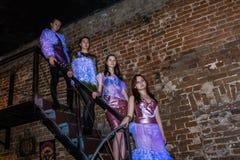 Репетиция перед хаосом искусства представления моды в ночном клубе Bla стоковая фотография rf