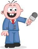 Репортер держа микрофон иллюстрация штока