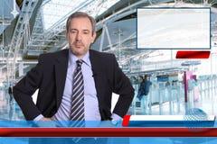 Репортер новостей ТВ Стоковая Фотография RF
