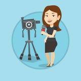 Репортер ТВ с микрофоном и камерой Стоковые Изображения