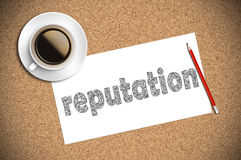 Репутация эскиза кофе и карандаша на бумаге Стоковое фото RF