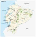 Республика дороги эквадора и национальный парк vector карта стоковые изображения