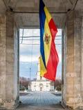 Республика флага Молдавии в центре Chisinau стоковое фото rf