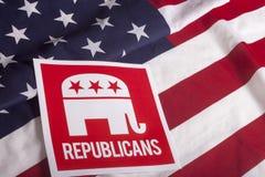 Республиканское голосование избрания и американский флаг стоковая фотография rf