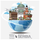 Республика перемещения ориентир ориентира Сербии глобального и путешествия Infographic Стоковая Фотография