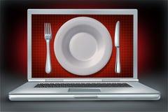 рестораны компьтер-книжки интернета зрелищности компьютера иллюстрация вектора