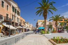 Рестораны на улице Chania на Крите, Греции Стоковое Изображение